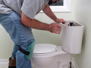 fixing a toilet