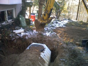 New Plastic Tank Carefully Backfilled